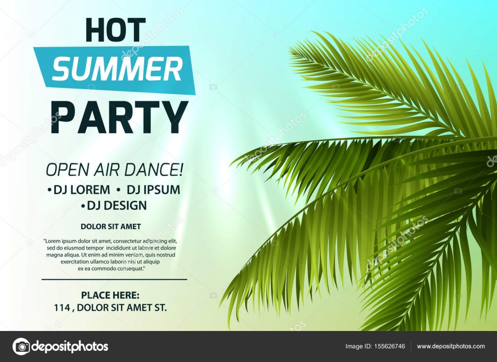 Hot Summer Party Invitation Concept Text On Light Background Green Palm Leaves And Sun