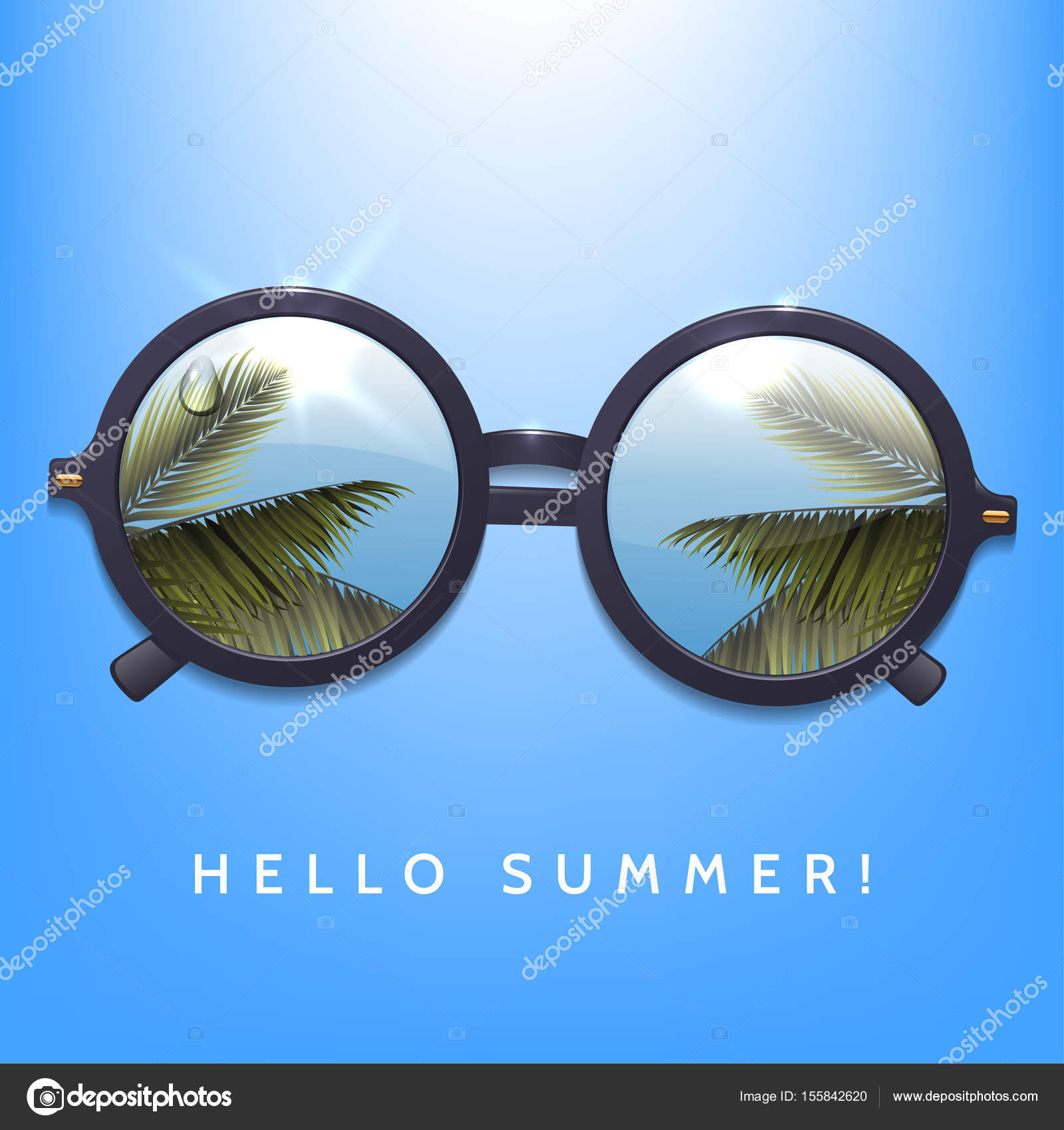 Merveilleux Hello Summer Illustration. Palms Reflection In Round Sunglasses. Blue Sky  Background. Flecks Of