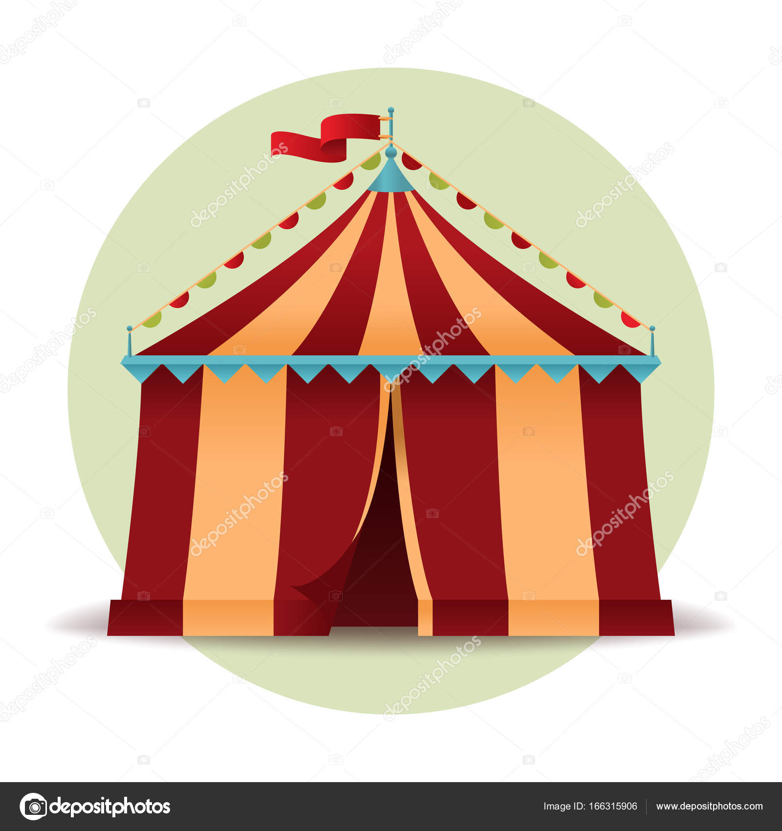 Circus Tent Icon Isolated On White Background Vintage Marquee In Flat Style Colorful