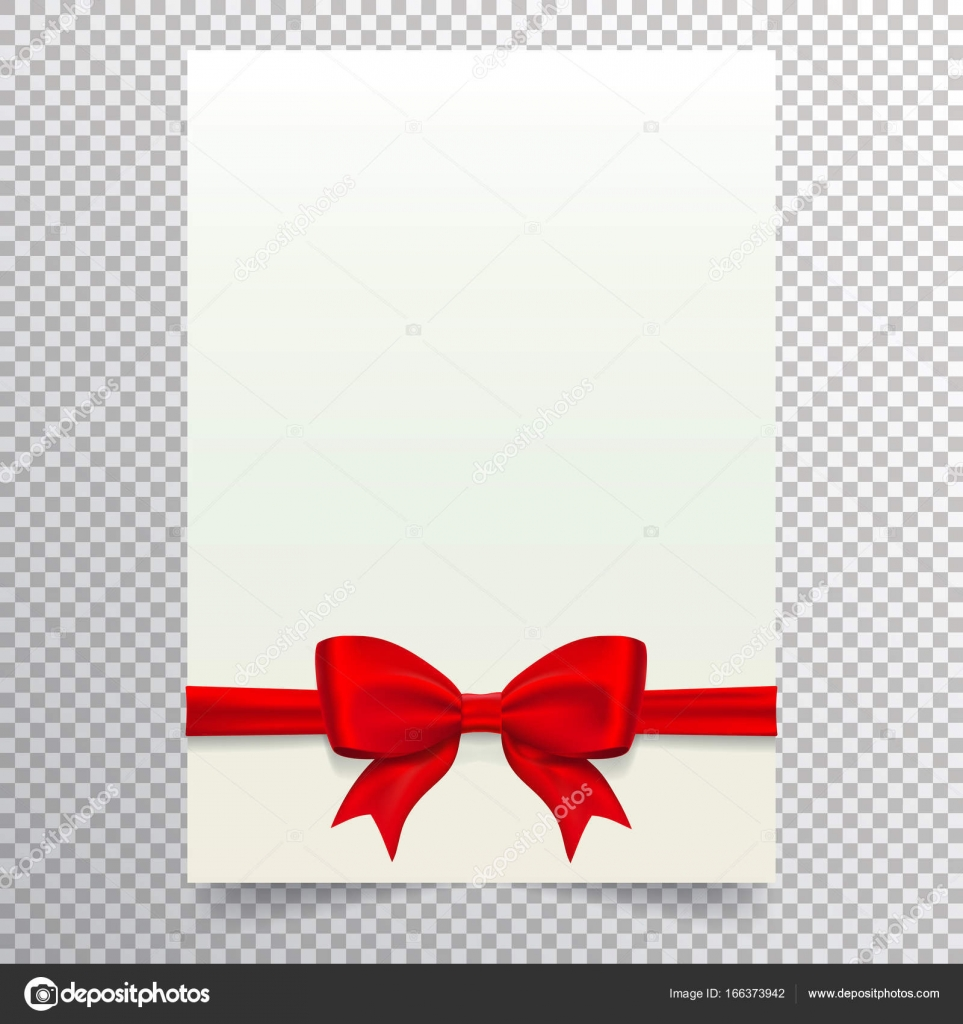 Blank Voucher | Blank Paper Sheet With Red Ribbon And Bow White Blank A4 Page