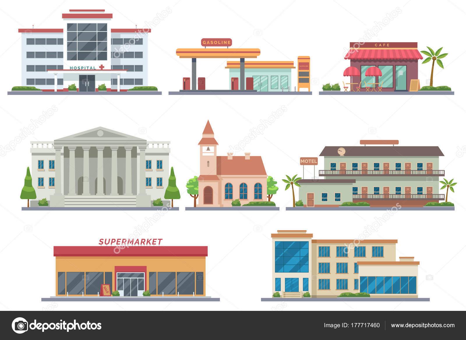 Vector conjunto de edificios pblicos de ciudad hospital vector conjunto de edificios pblicos de ciudad hospital gasolinera cafetera banco malvernweather Images