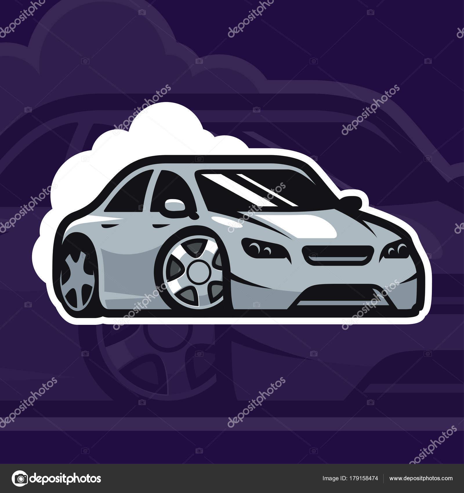 Sport Car Vector Illustration Drift Car Logo Design Street Racing