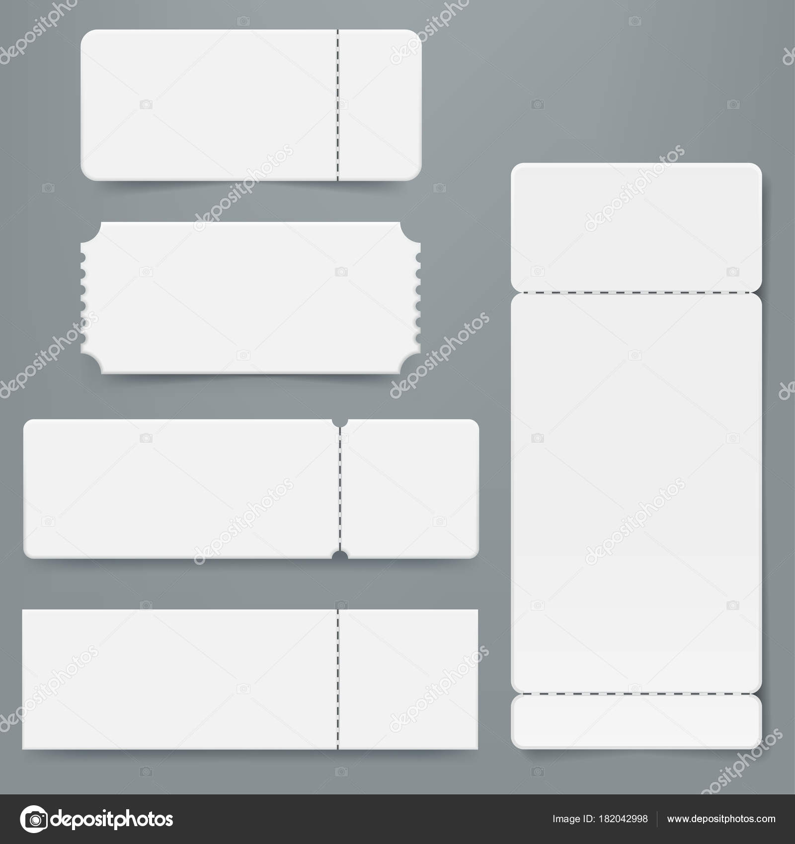 Set of blank ticket mockup template. Realistic White paper coupon ...