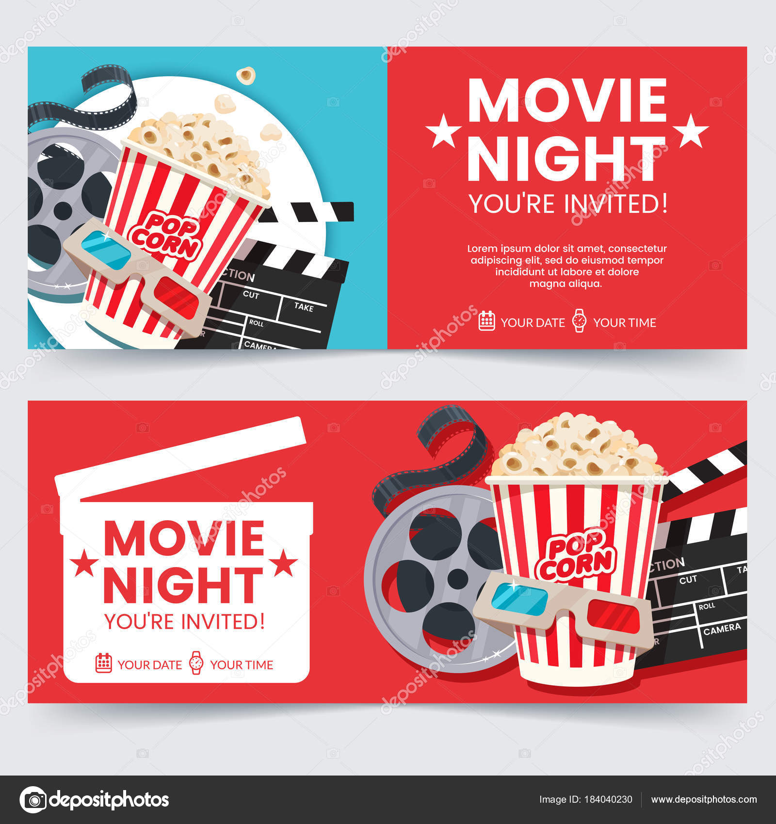 Kinokarten Designkonzept. Film-Nacht-Einladung. Kino-Plakat-Vorlage ...