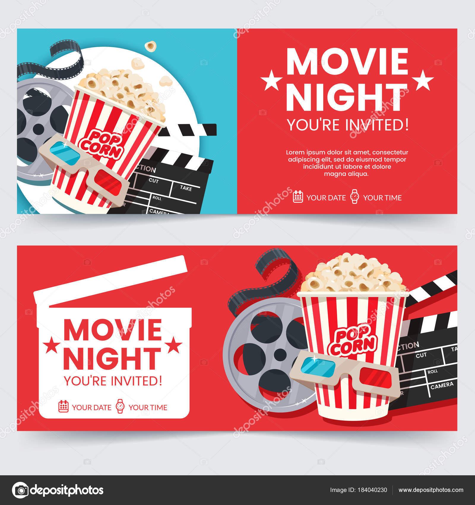 cinema tickets design concept movie night invitation cinema poster