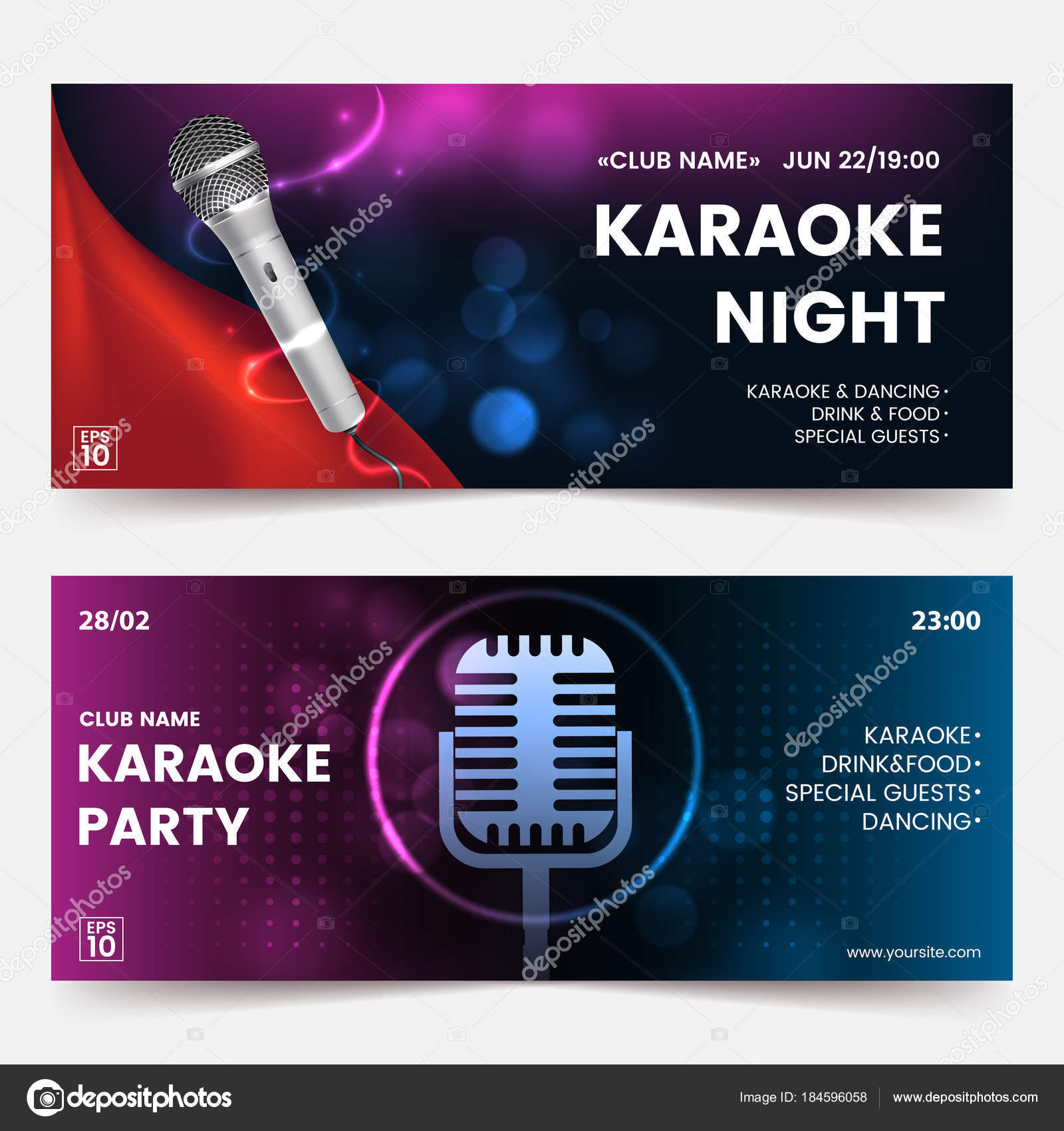 Karaoke party invitation flyer template. Karaoke tickets. Dark ...