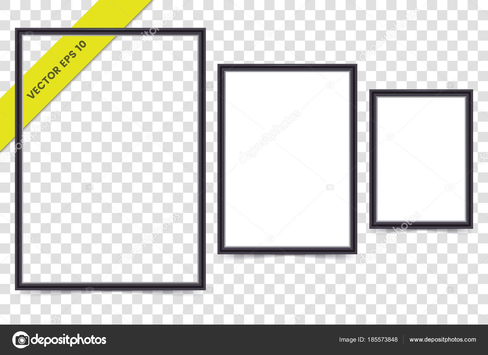 Vector black plastic frame for photo, poster or picture isolated on ...