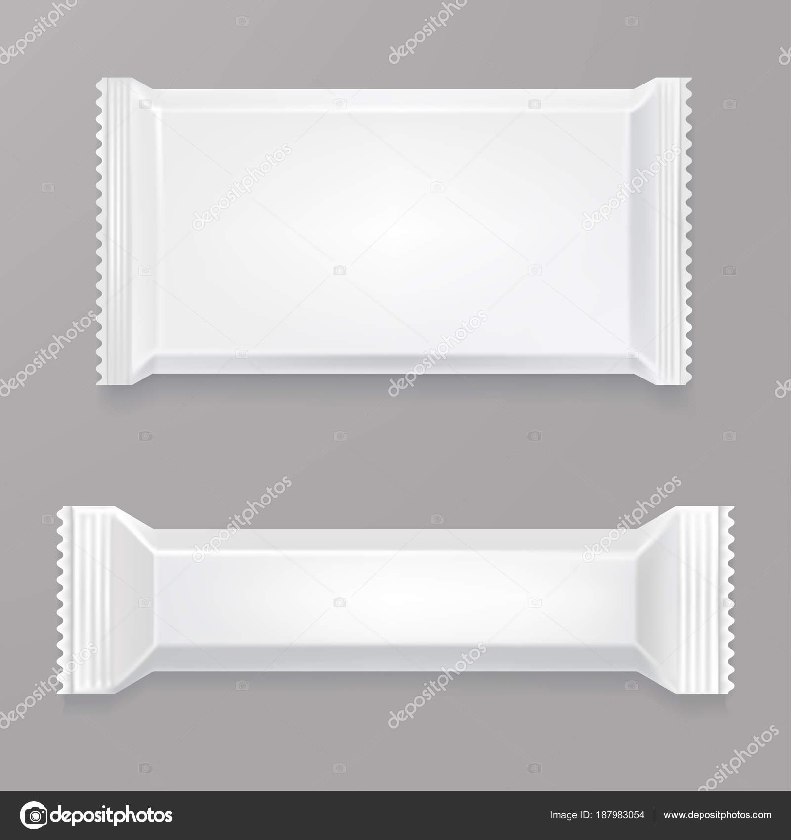 Maqueta de chocolate blanco blanco de la barra. Paquete de ...