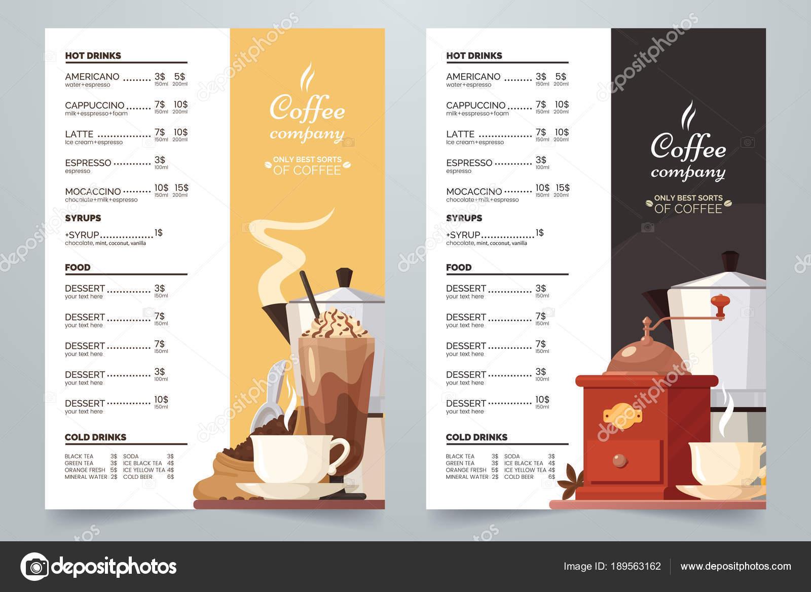 Vektor-Kaffee-Karte-Design-Vorlage. Kaffee-Menü a4 Konzept mit ...