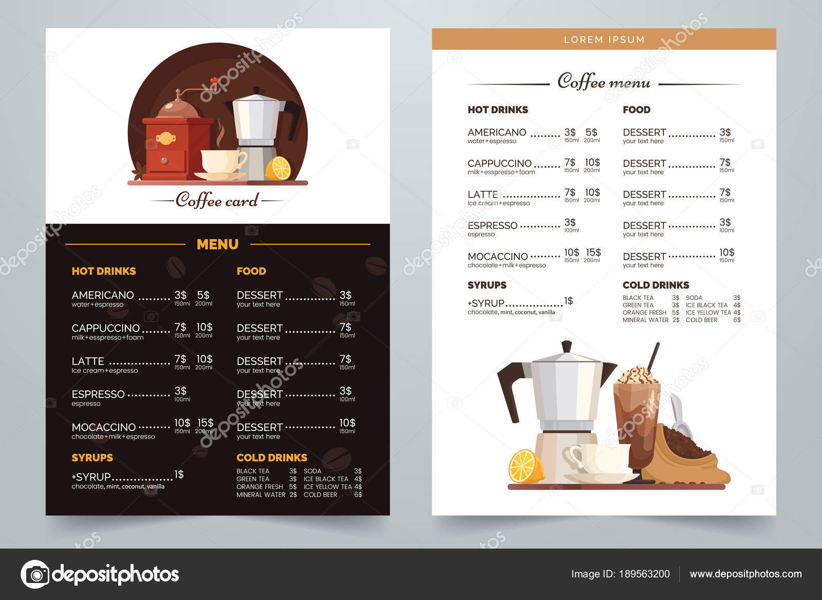 Coffee menu design with text and illustration  Vector Coffee