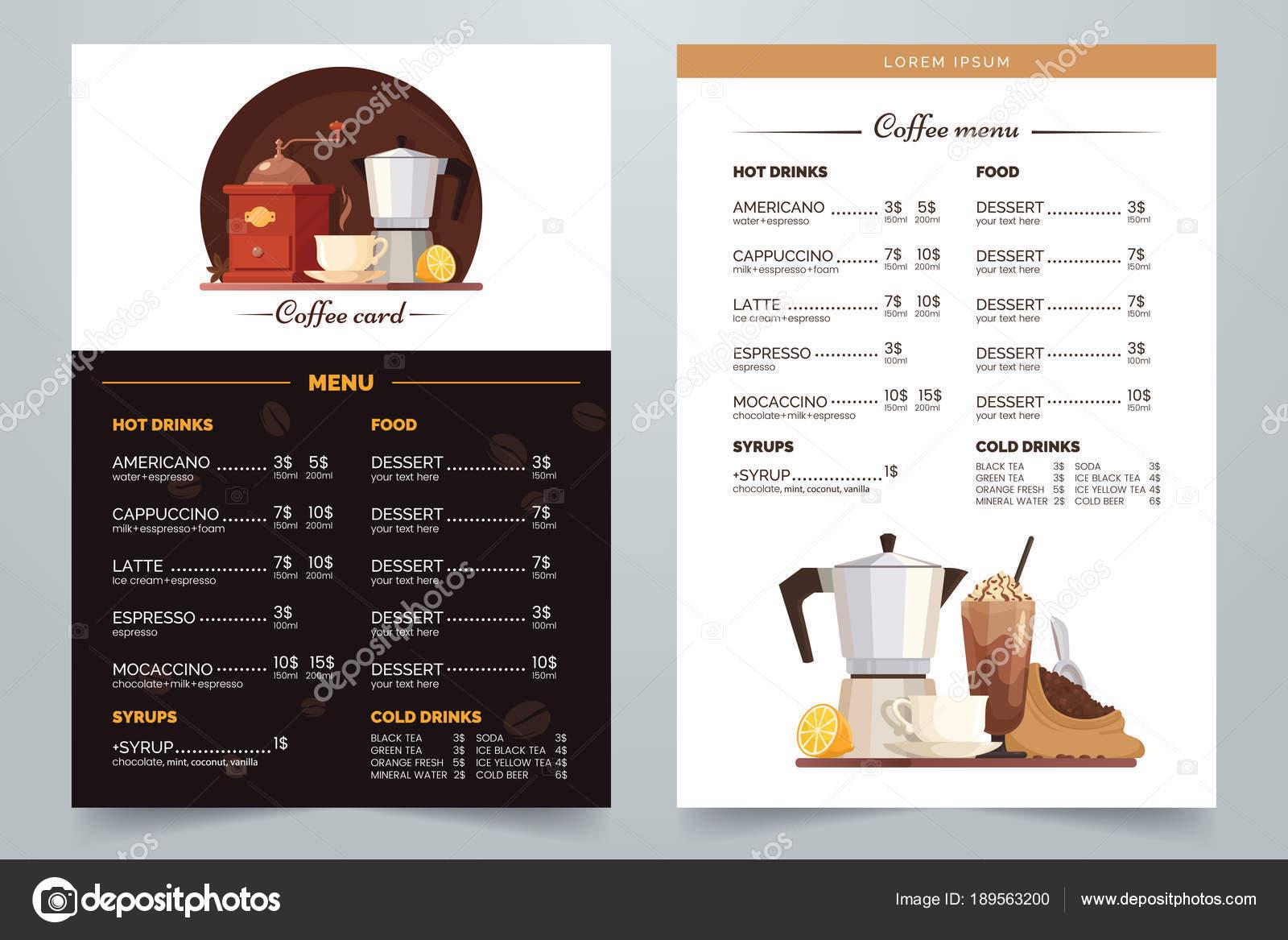 Kaffee-Menü-Design mit Text und Illustration. Vektor Kaffee Karte a4 ...