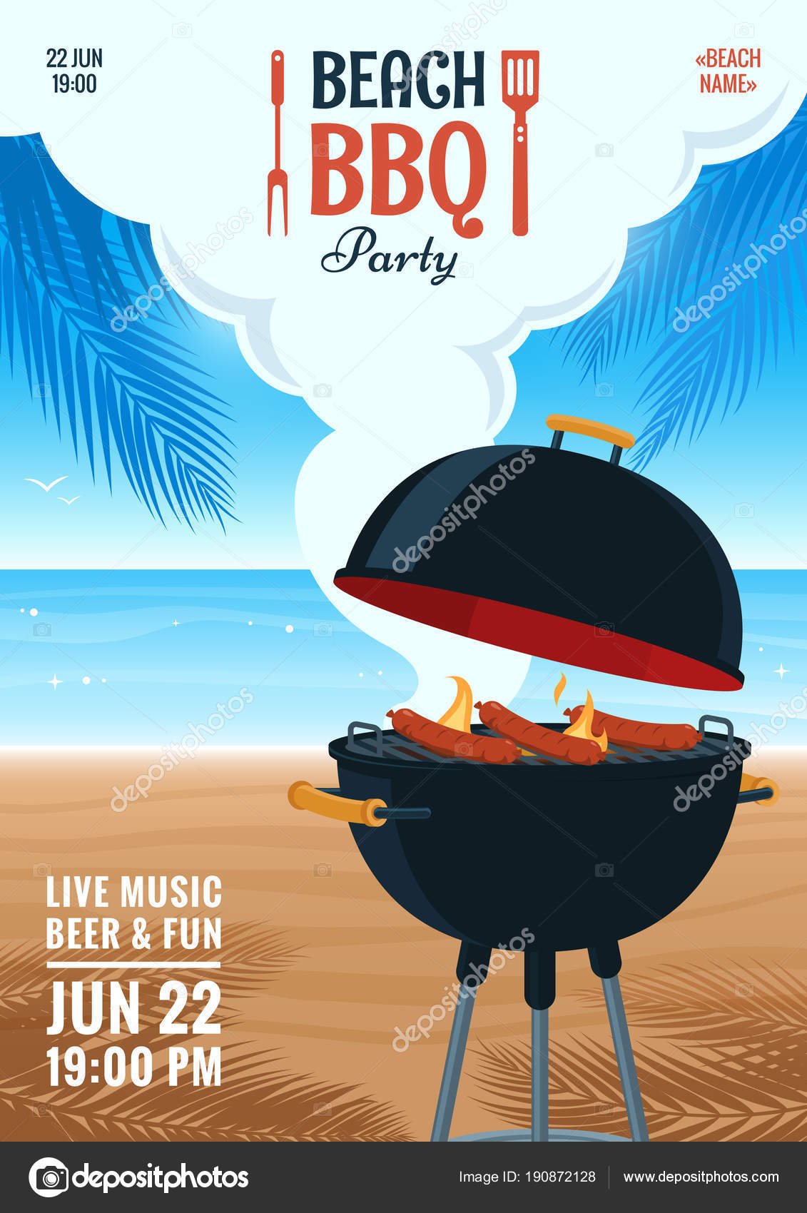 beach barbecue party invitation summer bbq party flyer grill