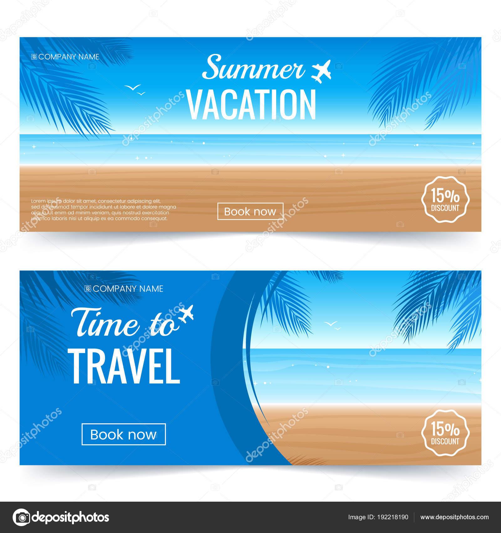 Sommer Urlaub Horizontale Banner Farbigen Hintergrund Mit Strand