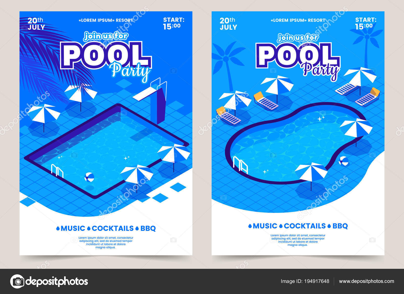 summer pool party invitation poster isometric water swimming pool