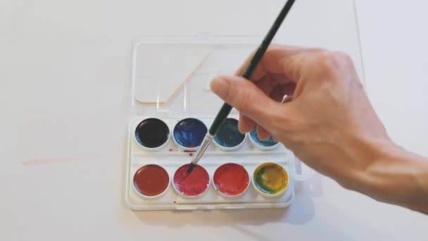 A watercolor palette of colors and a womans hand plunging the brush into red.