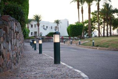 Small street lights along roads