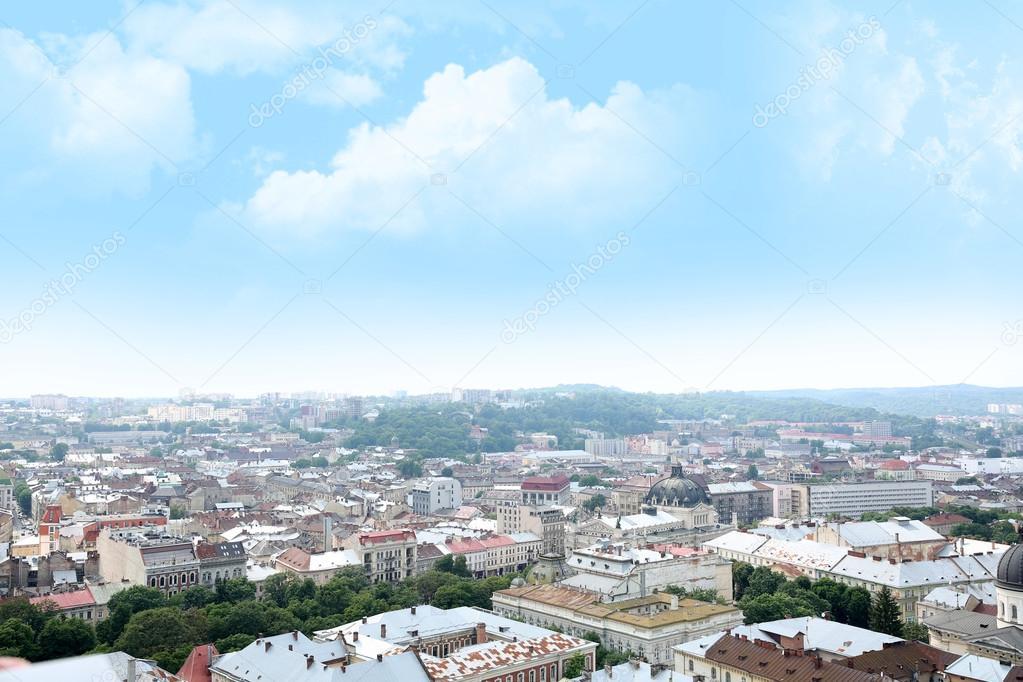 city landscape at sunny day