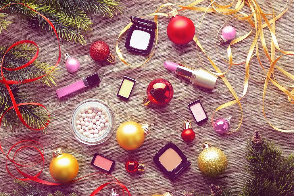 Colorful makeup cosmetic with Christmas decoration