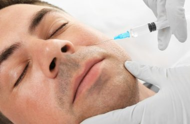Plastic surgery concept. Hyaluronic acid injection