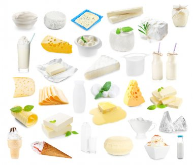 Different types of dairy products on white background. Dairy food collage.