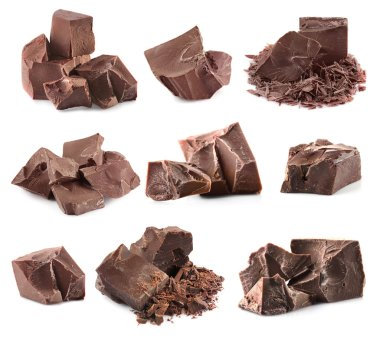 Collage of delicious chocolate on white background