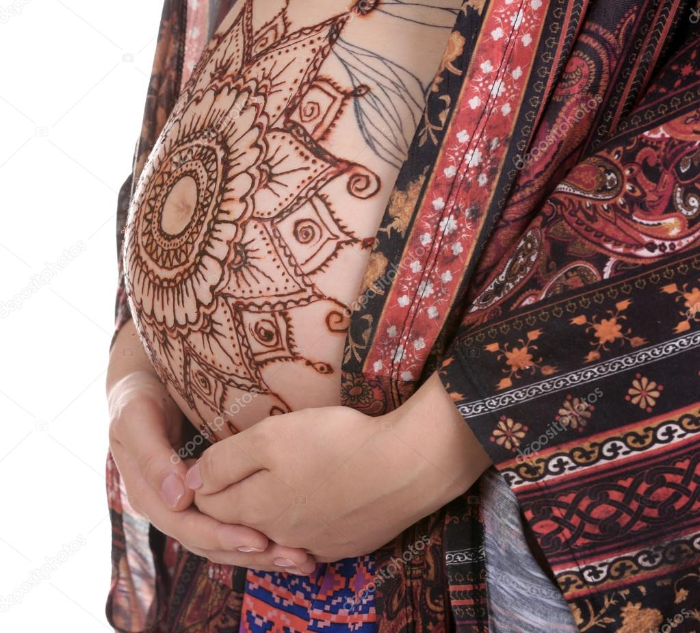 Henna Tatuaż Na Brzuch W Ciąży Zdjęcie Stockowe