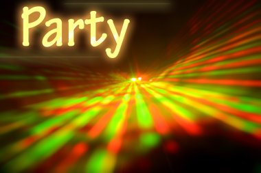Text PARTY on abstract laser light background