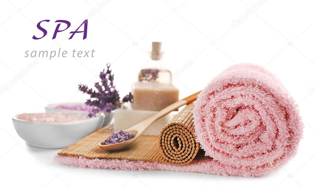Spa composition and word SPA on white background. Space for text.