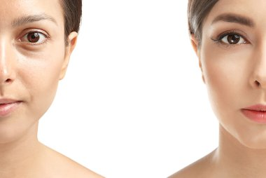 Portrait of young woman before and after the makeup, isolated on white