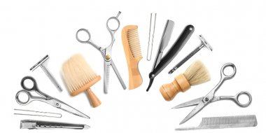 Different professional barber equipment