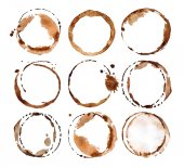 Fotografie Coffee stains on white background