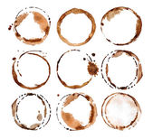 Coffee stains on white background
