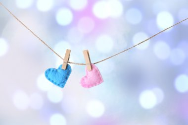 Two hearts hanging on rope against blurred bright background.