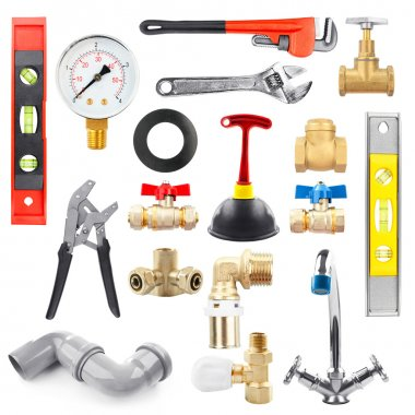 Set of plumbing equipment on white background