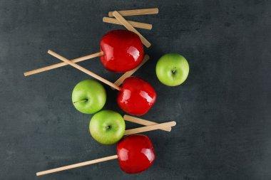 Caramel apples, top view