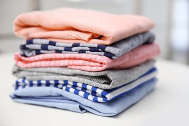 Folded clothes, closeup