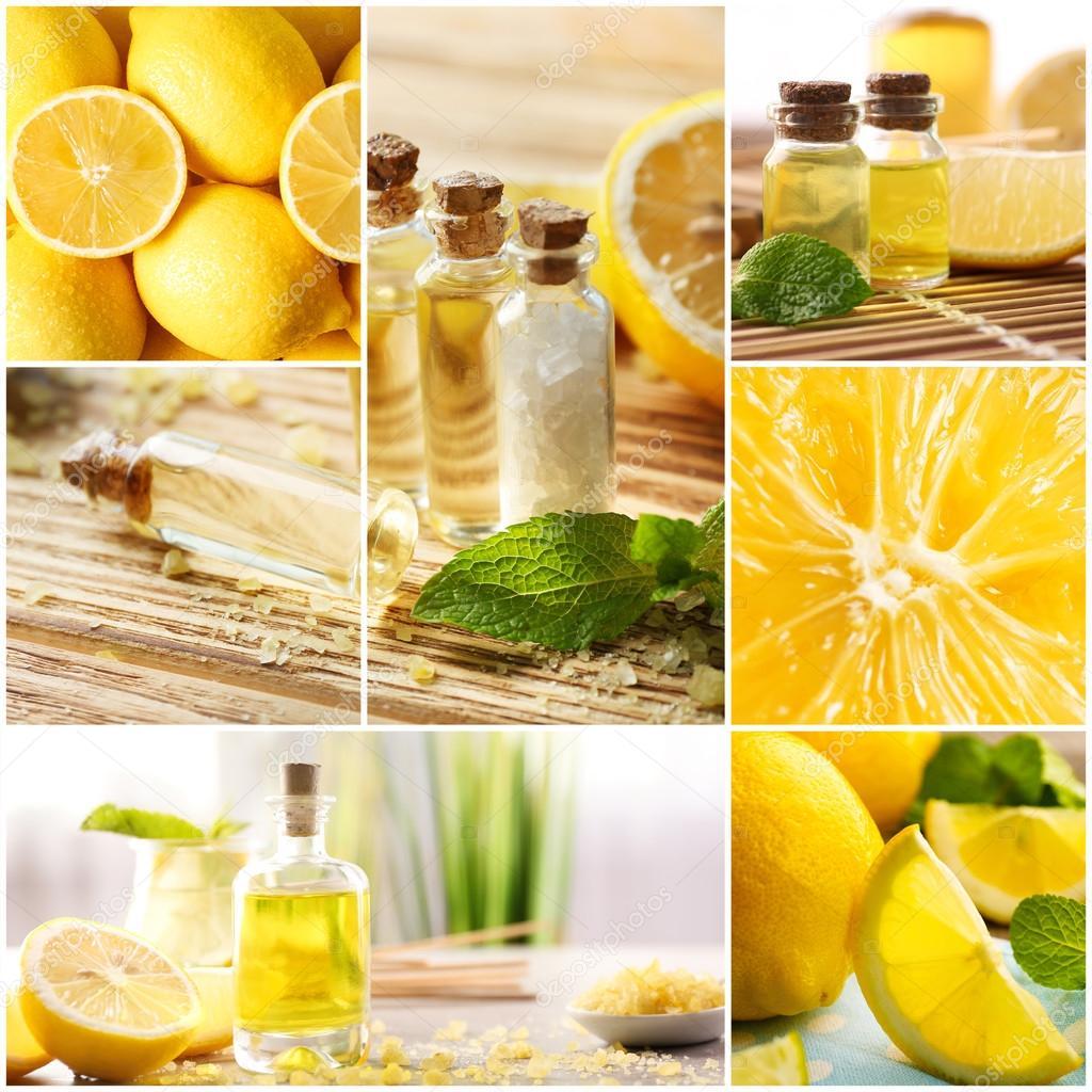 Collage of lemon spa. Beauty treatment concept.