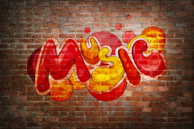 Colorful word MUSIC on brick wall background. Graffiti style