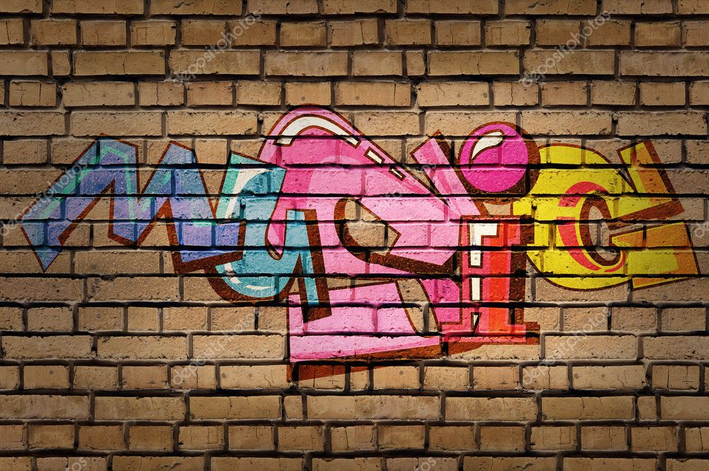 Colorful Word Music On Brick Wall Background Graffiti Style Stock