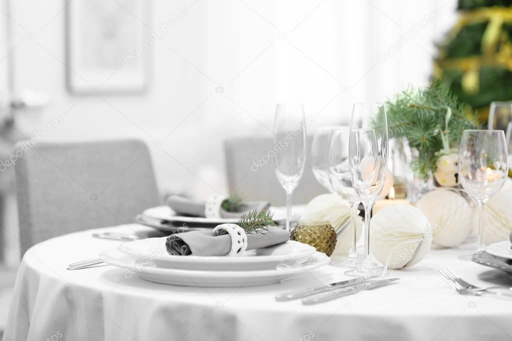 Table Served For Christmas Dinner In Living Room Close Up View Stock Photo