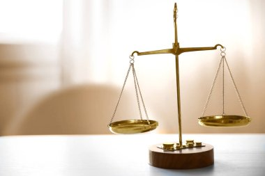 justice attribute on wooden table
