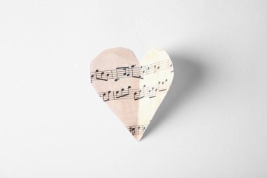 Paper heart with music notes