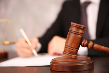 Court hammer on table