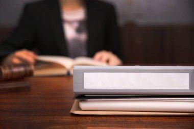 Folder on judge table