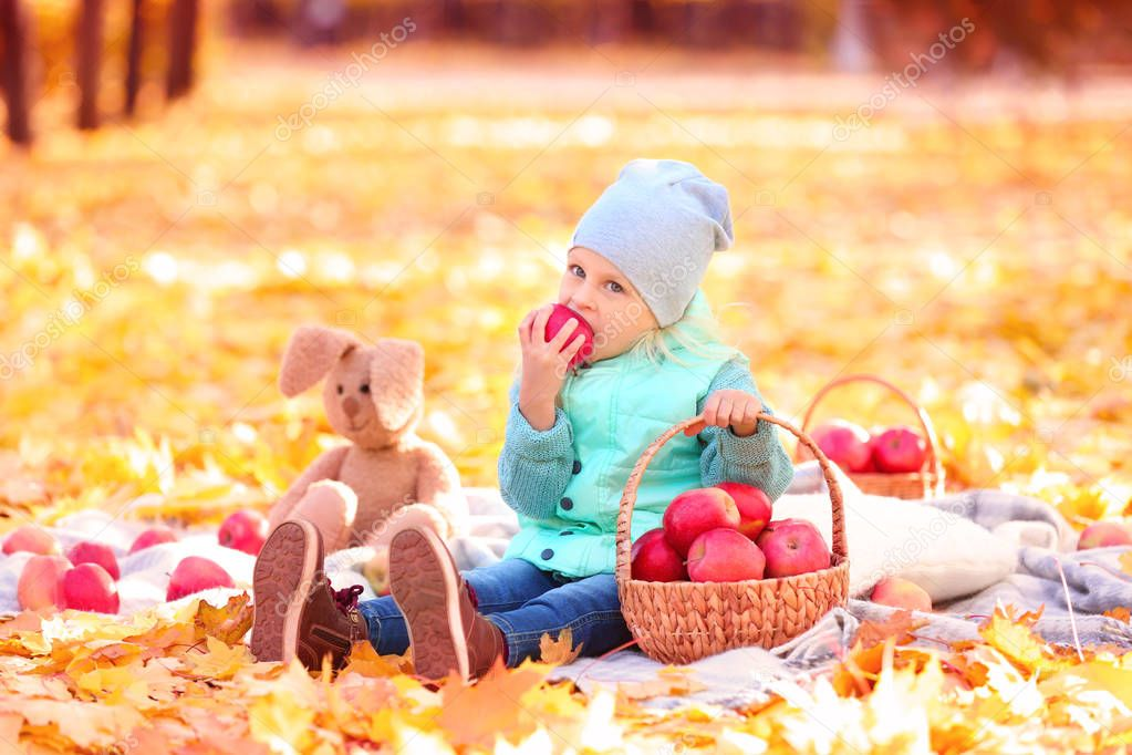 Cute little girl in autumn park