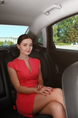 Beautiful woman in car