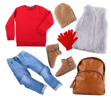 Set of stylish winter clothes