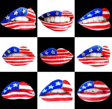 Female lips with USA flag makeup