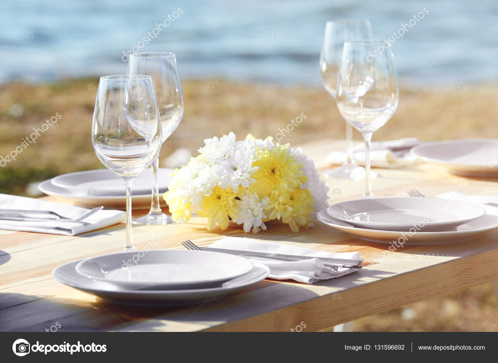 Table Setting For Buffet Catering Party Outdoors Close Up View - Catering table setting