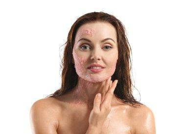 beautiful woman with peeling scrub